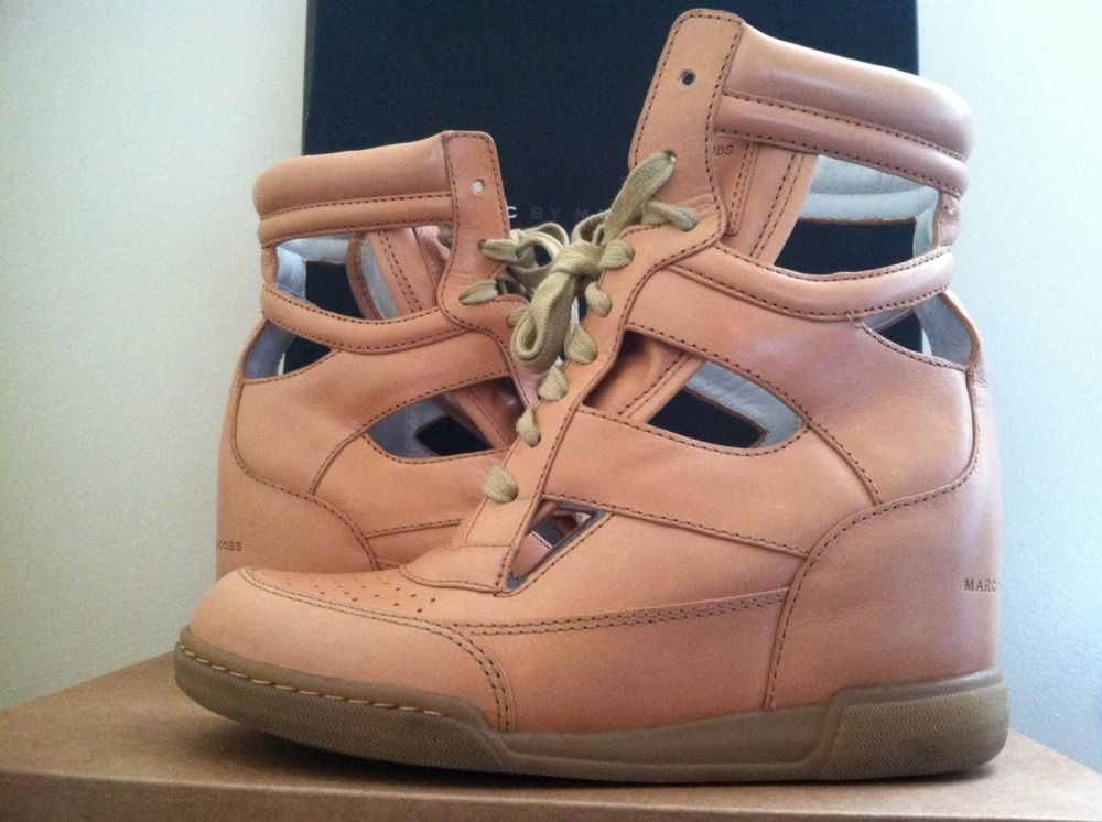 Marc By Marc Jacobs Cutout Sneaker Wedge Vacchetta Maine Nude / Cotton Lace 7 M #MarcbyMarcJacobs #SneakersWedgesHeelsLaceupsHighTop
