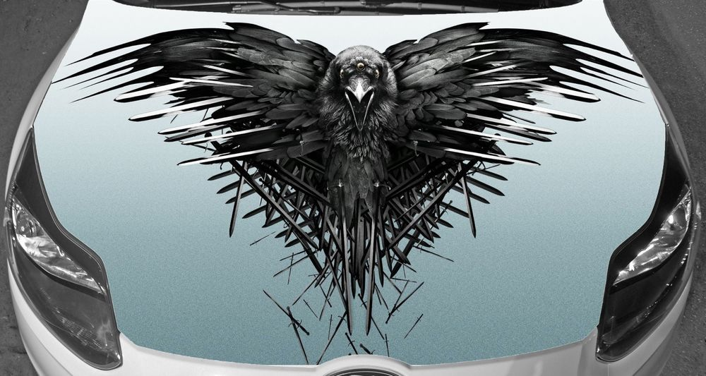 4f225433d Car Hood Full Color Graphics Vinyl Sticker Raven Game of Thrones Decal  #Oracal