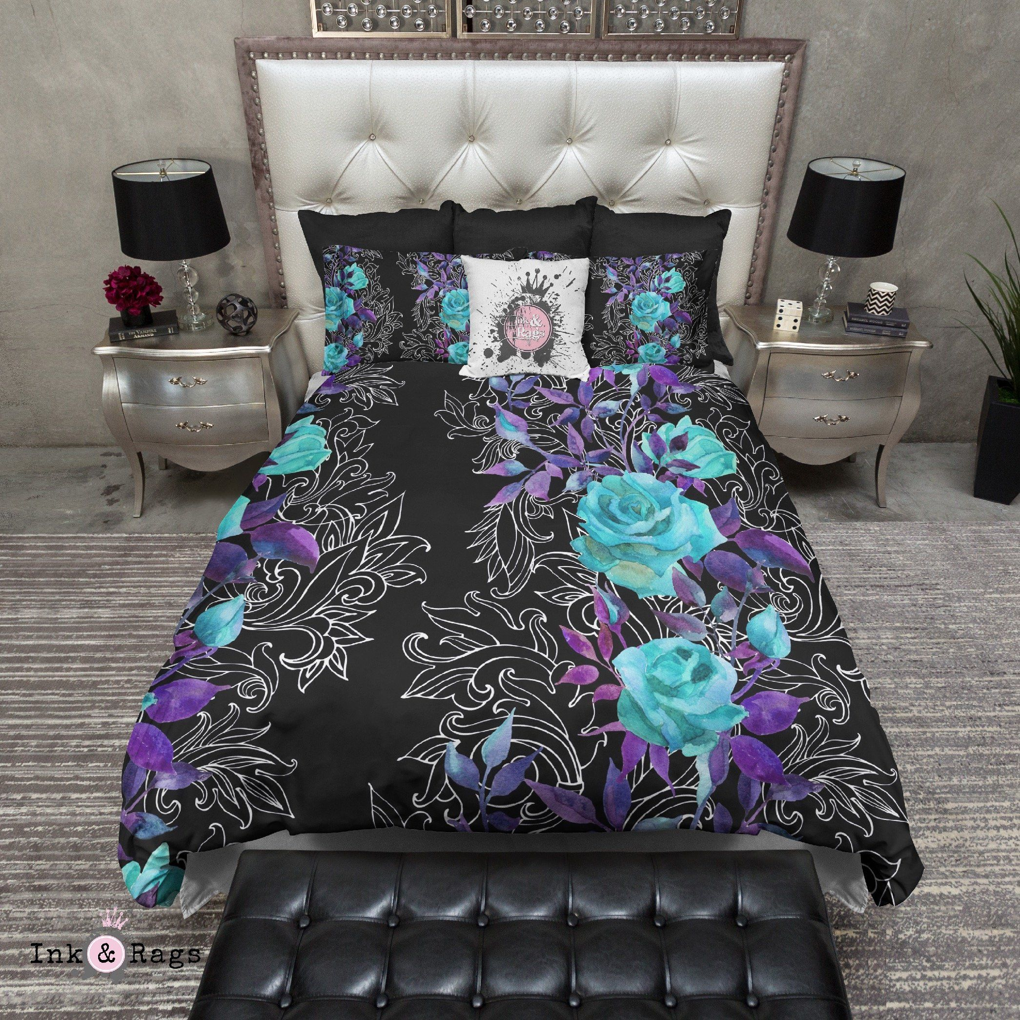 Photo of Turquoise and Purple Rose with Hand Drawn Scroll Work Bedding