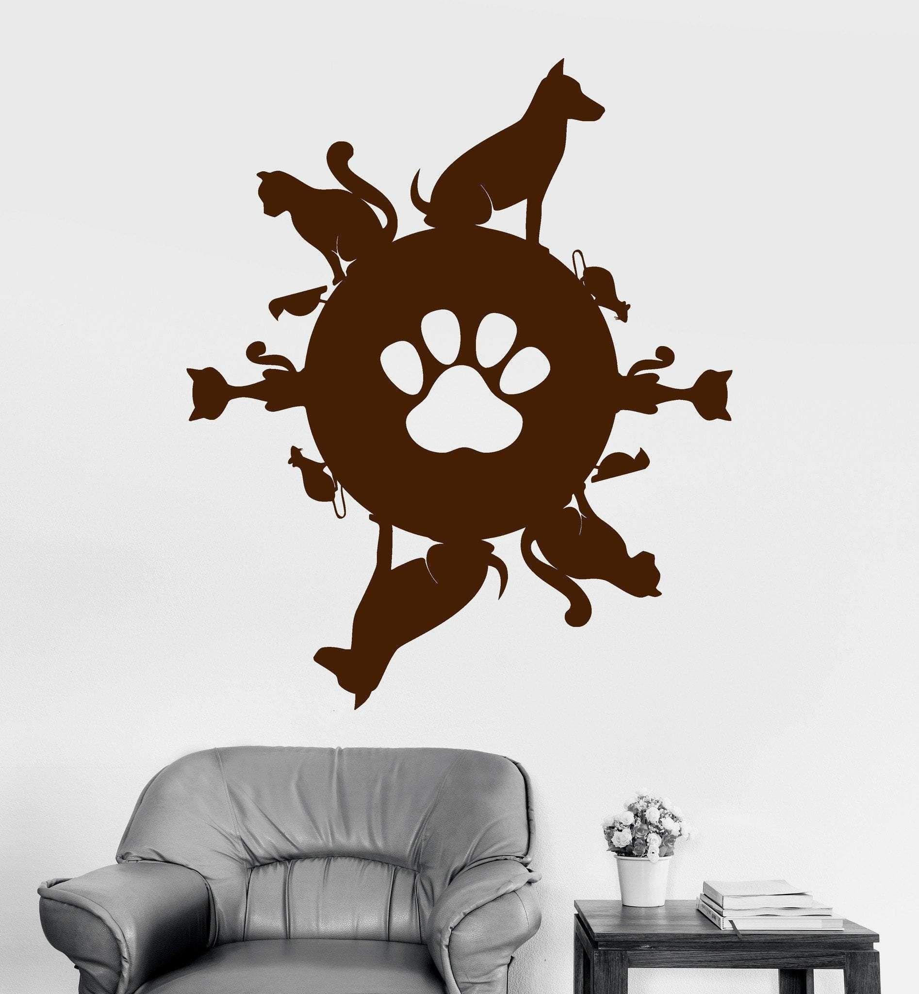 Vinyl Wall Decal Pet Planet Animal Shop Cat Dog Stickers Mural Unique Gift Ig3797 Pet Shop Pets Dog Stickers