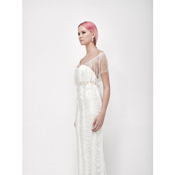 White wedding dress with fringes, vintage style white wedding dress ...