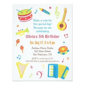 Colourful music instruments kids birthday party 425x55 paper kids birthday party invitations bookmarktalkfo Gallery