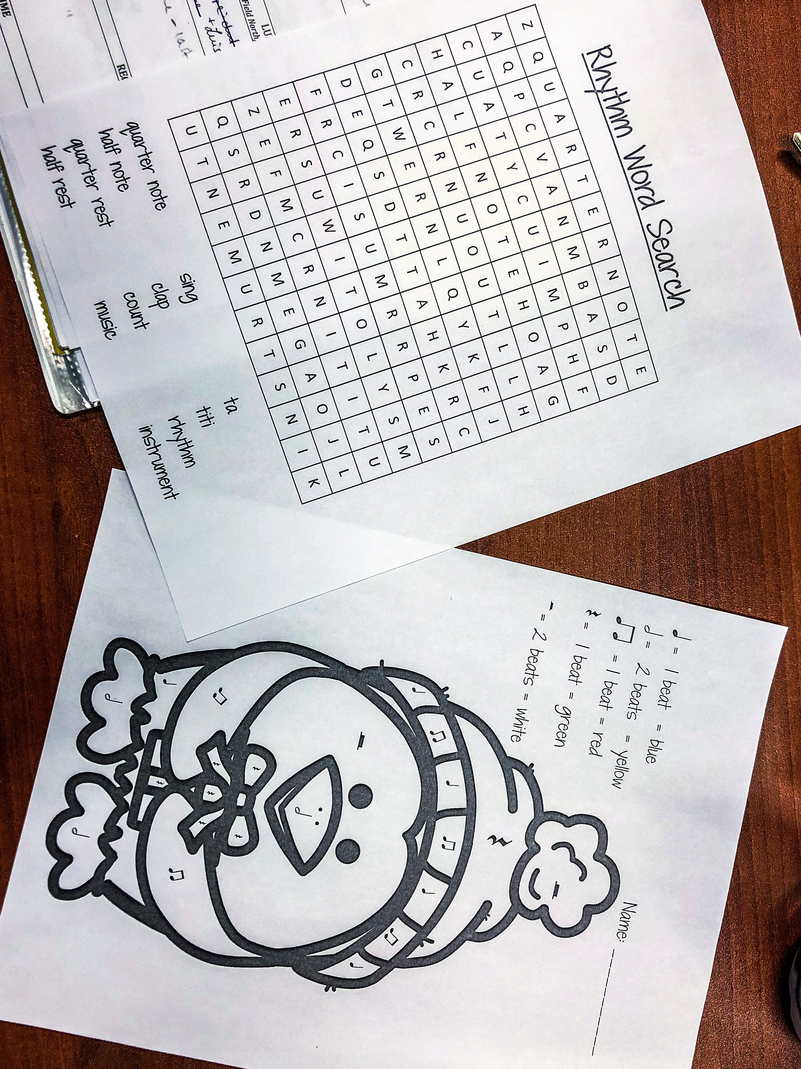 Winter Music Colouring Sheet Amp Word Search