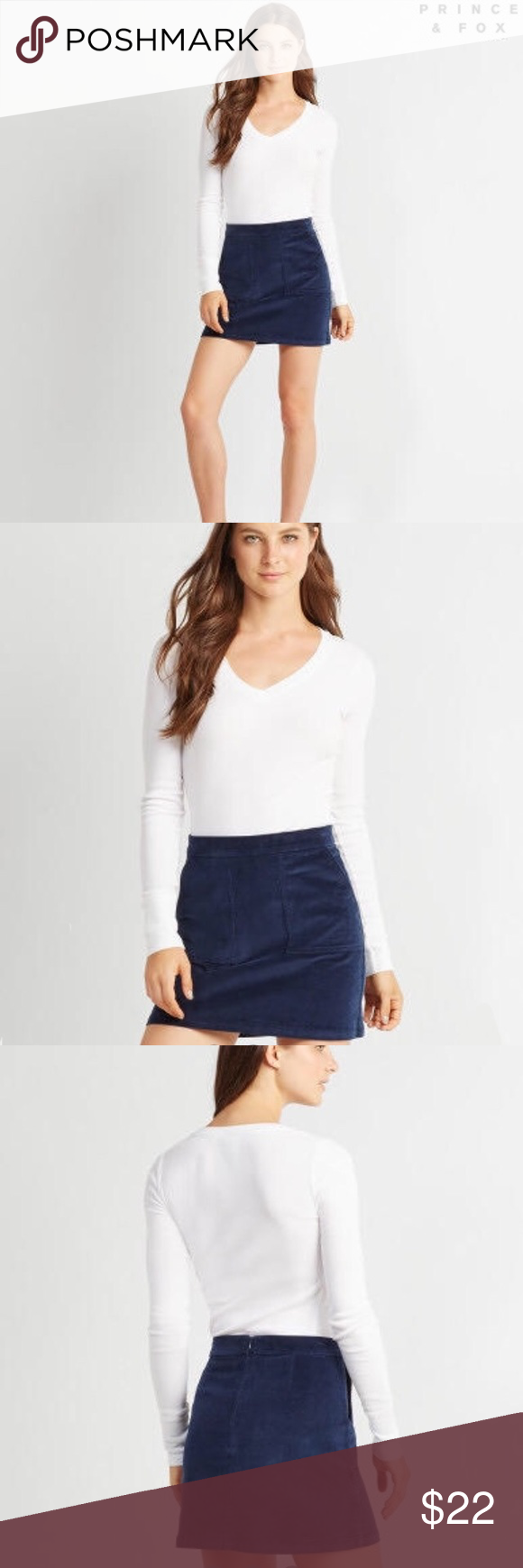 """🆕 Prince & Fox Box Pleat Corduroy Skirt in Navy The Prince & Fox Box Pleat Corduroy Skirt should be a style staple in every gal's cold weather wardrobe. It's designed in a versatile solid hue and features two deep front pockets; patterned tights and a cable knit sweater or cardi will complement it perfectly.  Slim fit. Approx. length: 16"""" Style: 2381. Imported.  98% cotton, 2% spandex. Machine wash/dry.  Model height: 5'9""""   Wear size: 2. Aeropostale Skirts"""