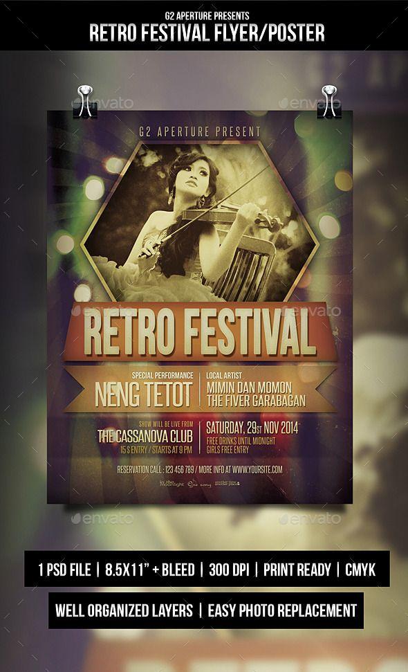 Retro Festival Flyer Templates Flyer template, Template and Retro - retro flyer templates