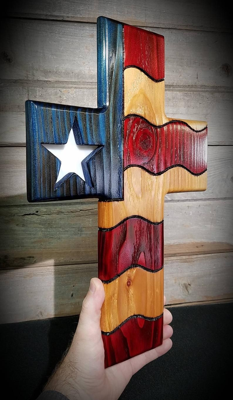 American flag patriotic cross stained glass star wood