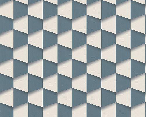 טפט גיאומטרי כחול לבן - טפטים לבית ולמשרד