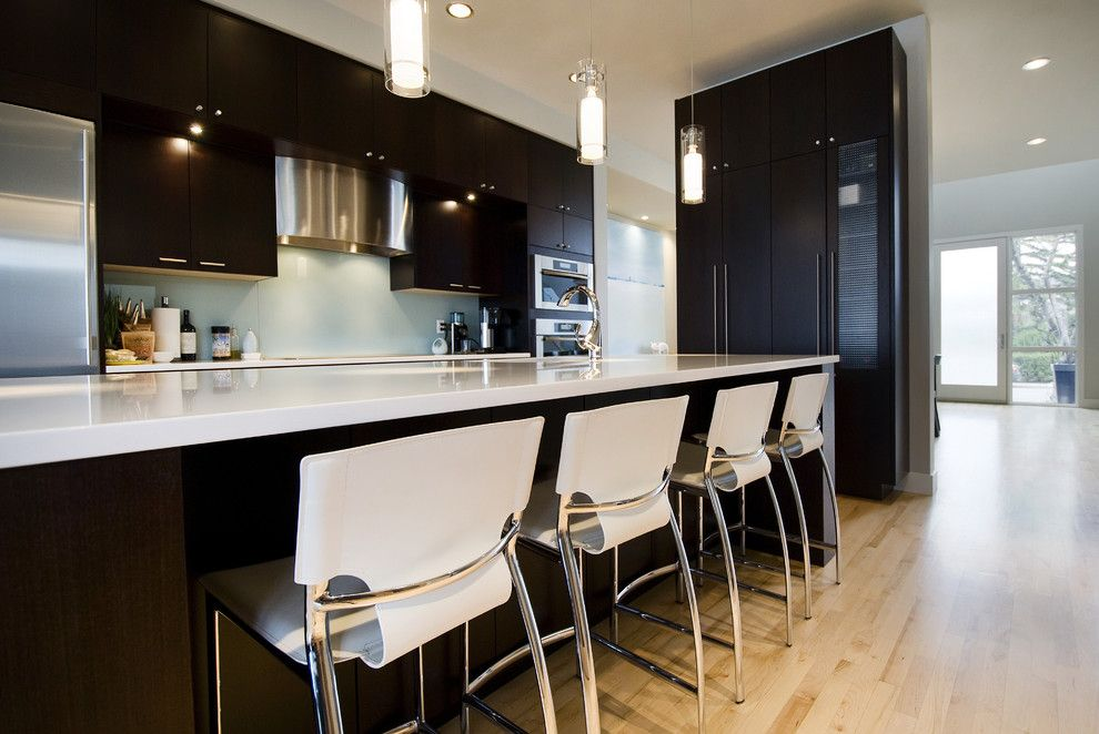 Dark Kitchen Cabinets With Light Floor White Steel Accents