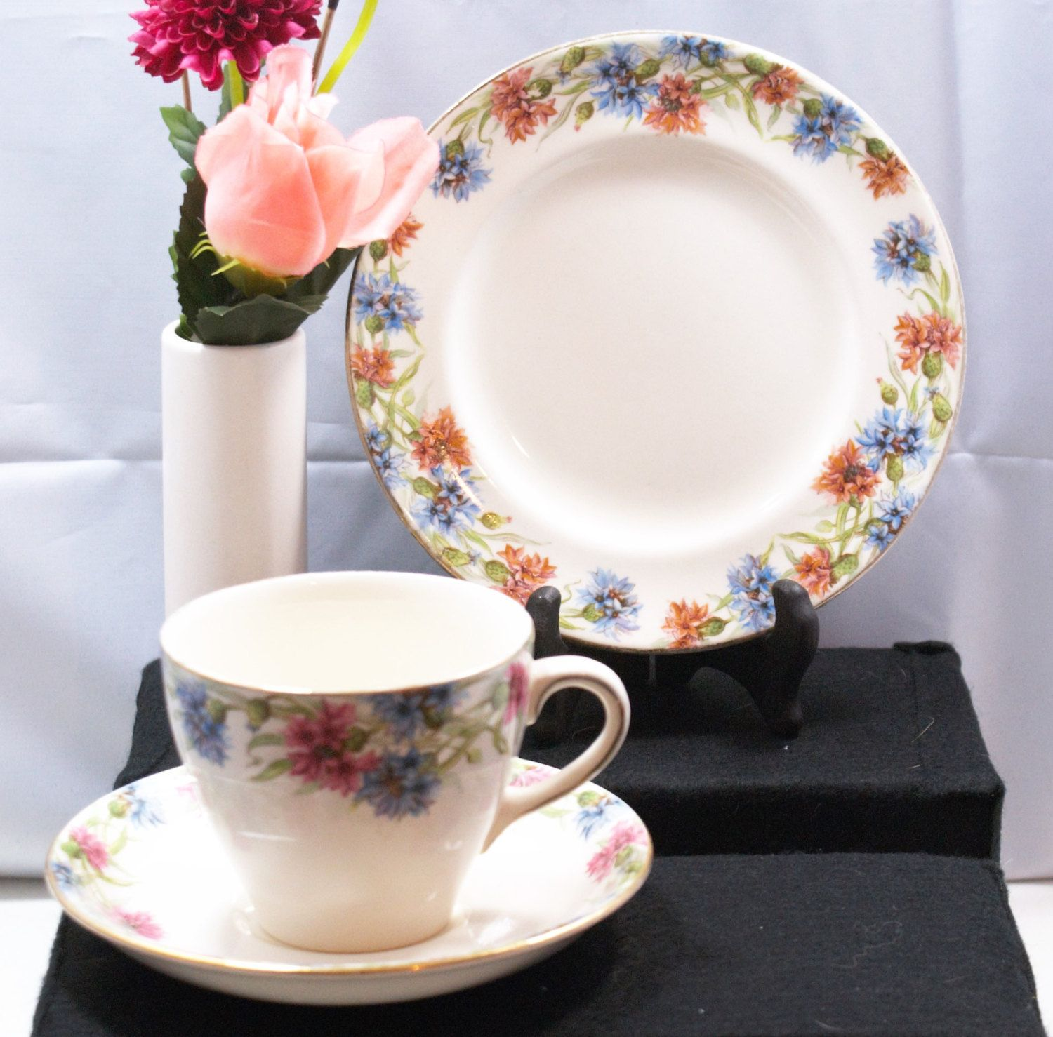 vintage Royal Doulton cornflower patterned trio, cup saucer and plate set , floral patterned collectors cups by MikesNicknacks on Etsy