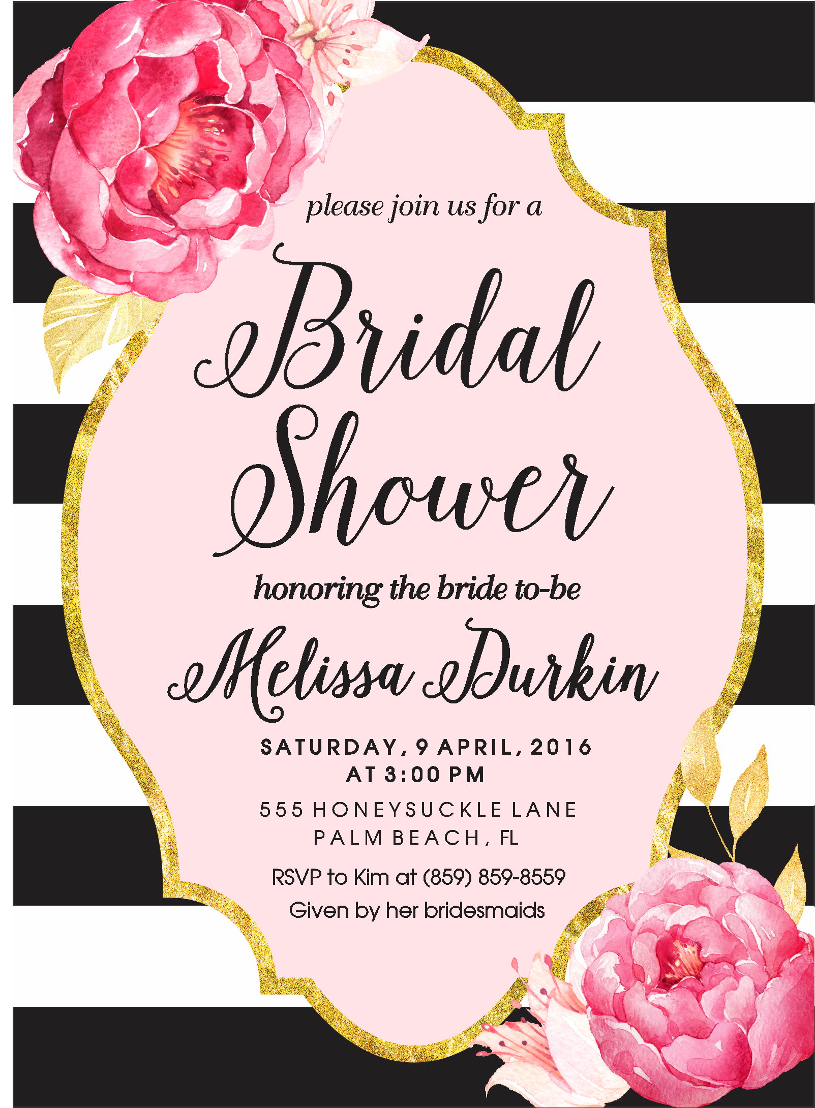 Black and white bridal shower invitation with gold frame and watercolor flowers