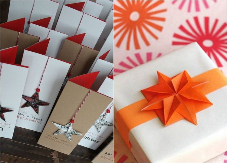 cartes de voeux décorées d'étoiles origami Noël faciles à faire