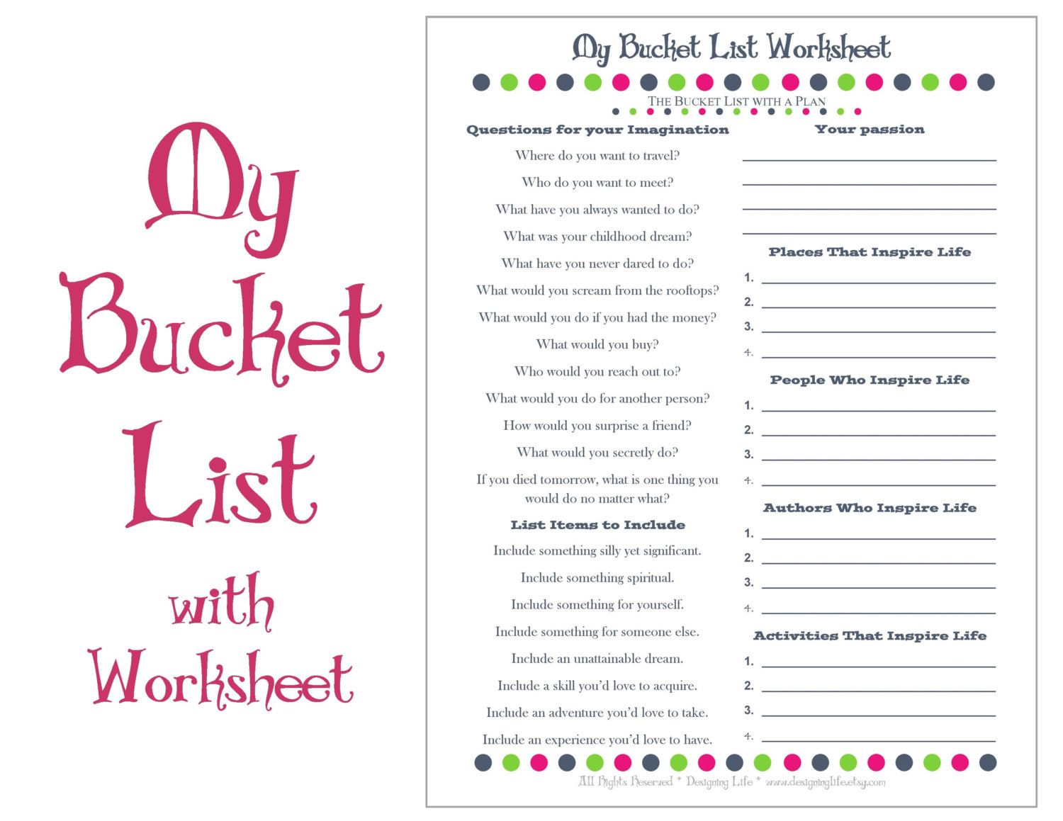 Bucket List Printable With Worksheet  Make A Plan To Live Life To
