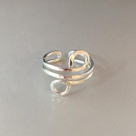 Sterling Silver Adjustable Wire Wrap Finger Toe Ring LBD1279 - Lexi Butler Designs