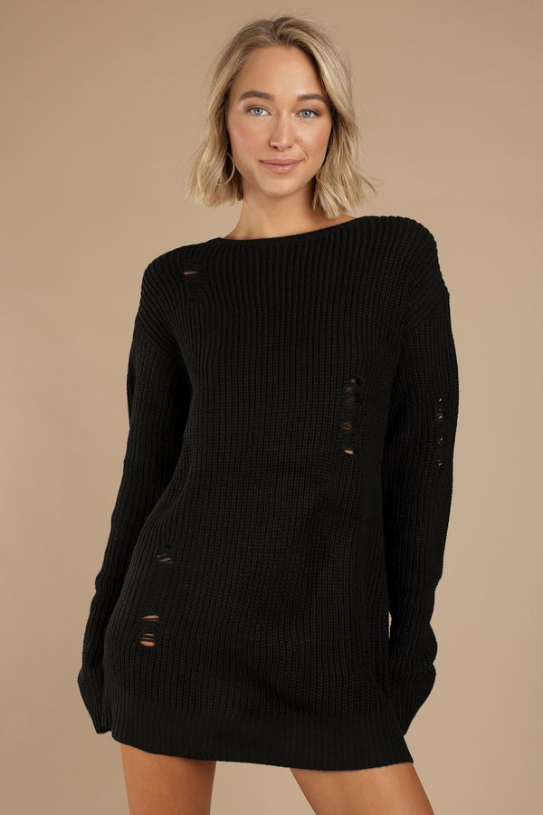 3088541365e Soft and edgy - that s what the Complicated Black Distressed Sweater Dress  is! Featuring a soft acrylic knit with a classic oversized fit