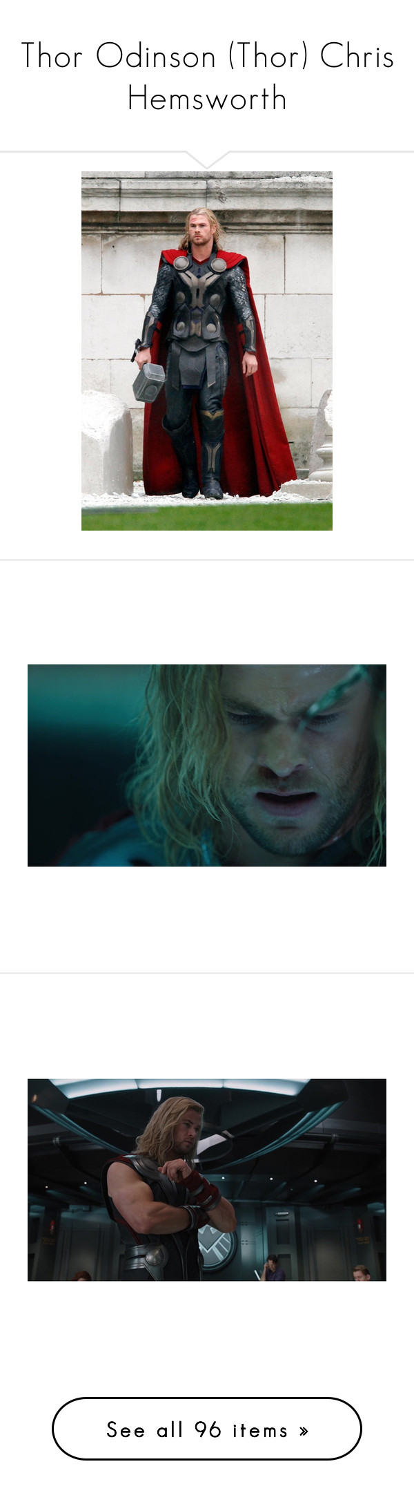 """""""Thor Odinson (Thor) Chris Hemsworth"""" by damonsxlvatore ❤ liked on Polyvore featuring marvel, thor, avengers, chris hemsworth, marvel thor, pictures, characters, filler, the avengers and accessories"""