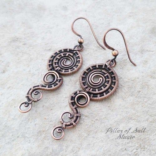 Small Double Spiral solid copper earrings | Draht schmuck, Draht und ...