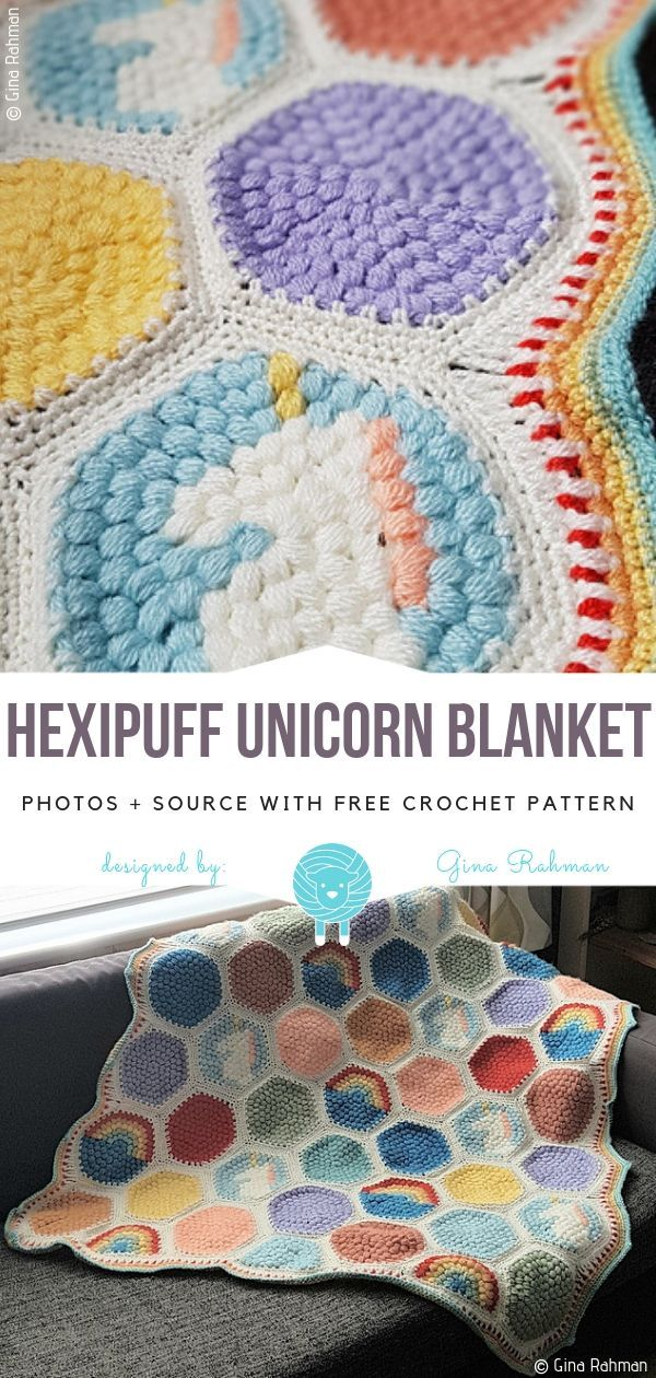 Hexipuff Unicorn Blanket Free Crochet Pattern | Knitting ...