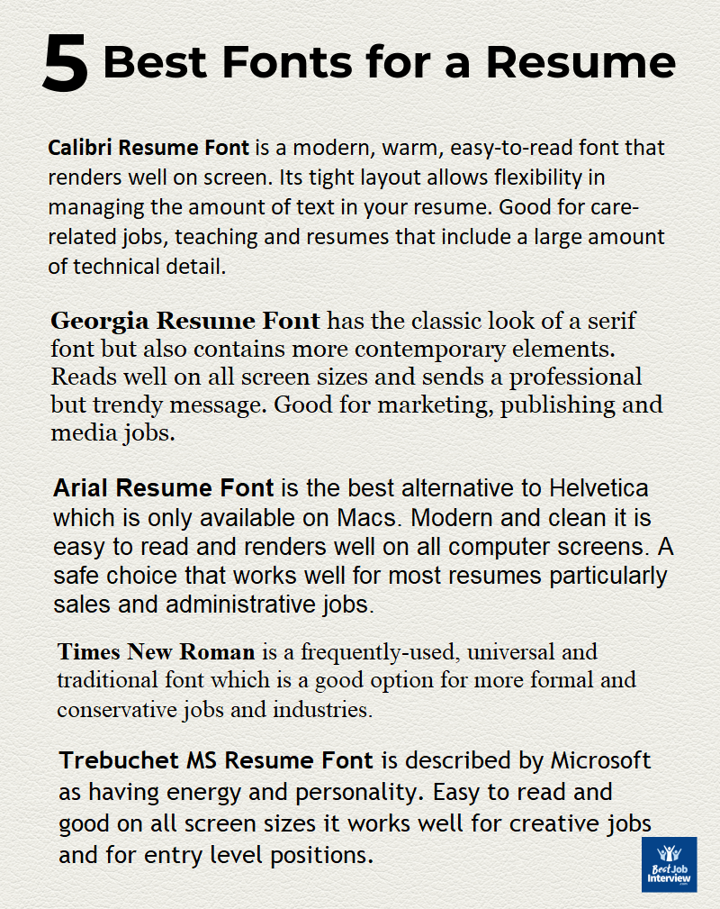 Best Font For Resume 2020 The Right Font Type And Size Resume Writing Tips Resume Tips Resume Advice