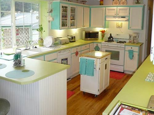 Emily drew create a charming 1940s style kitchen on a for 1950s decoration