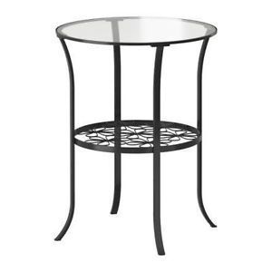 Round Black Metal End Table With Glass Top And Shelf Edmonton