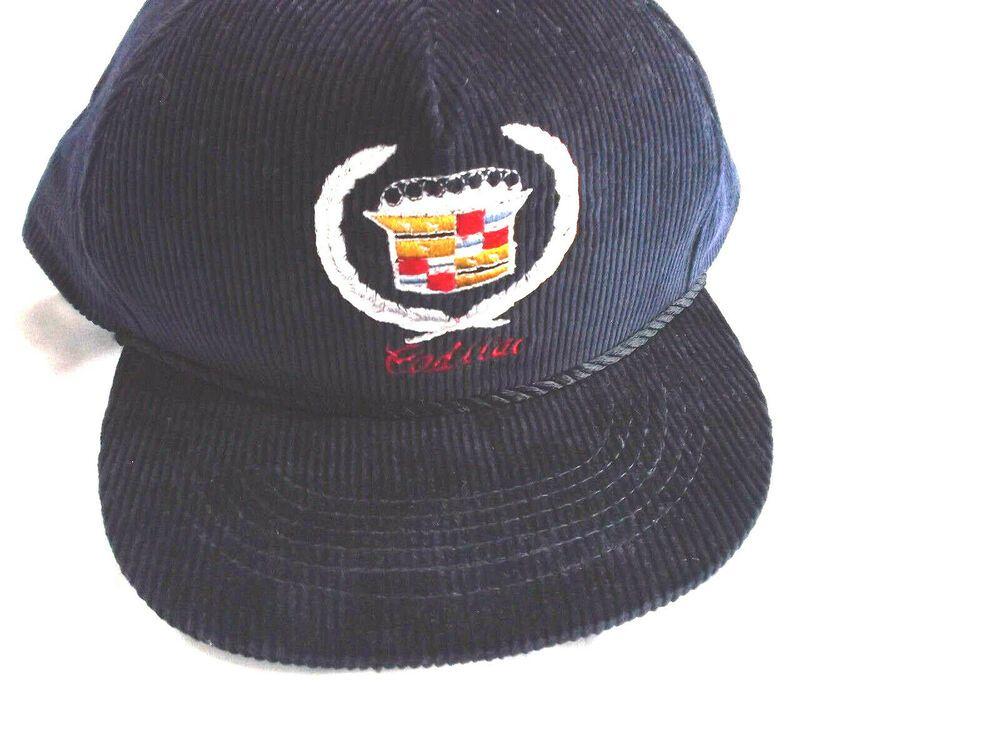 028c717b Vintage Embroidery 1 Size Fits All Cadillac Corduroy Baseball Cap! Navy  Blue #Cadillac #