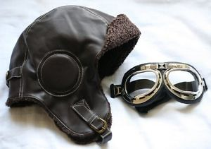 Aviator Helmet and Goggles Set