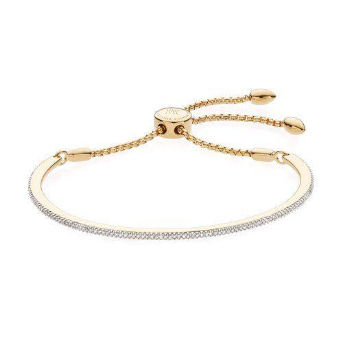 Fiji Pave Bar Petite Bracelet - Diamond, Rose Gold Vermeil on Silver Monica Vinader