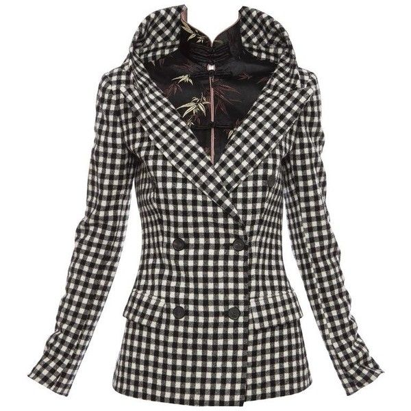 Preowned Jean Paul Gaultier Wool Black & White Buffalo Check Jacket,... (€715) ❤ liked on Polyvore featuring outerwear, jackets, white, white jacket, jean-paul gaultier, wool buffalo plaid jacket, long sleeve jacket and black and white jacket