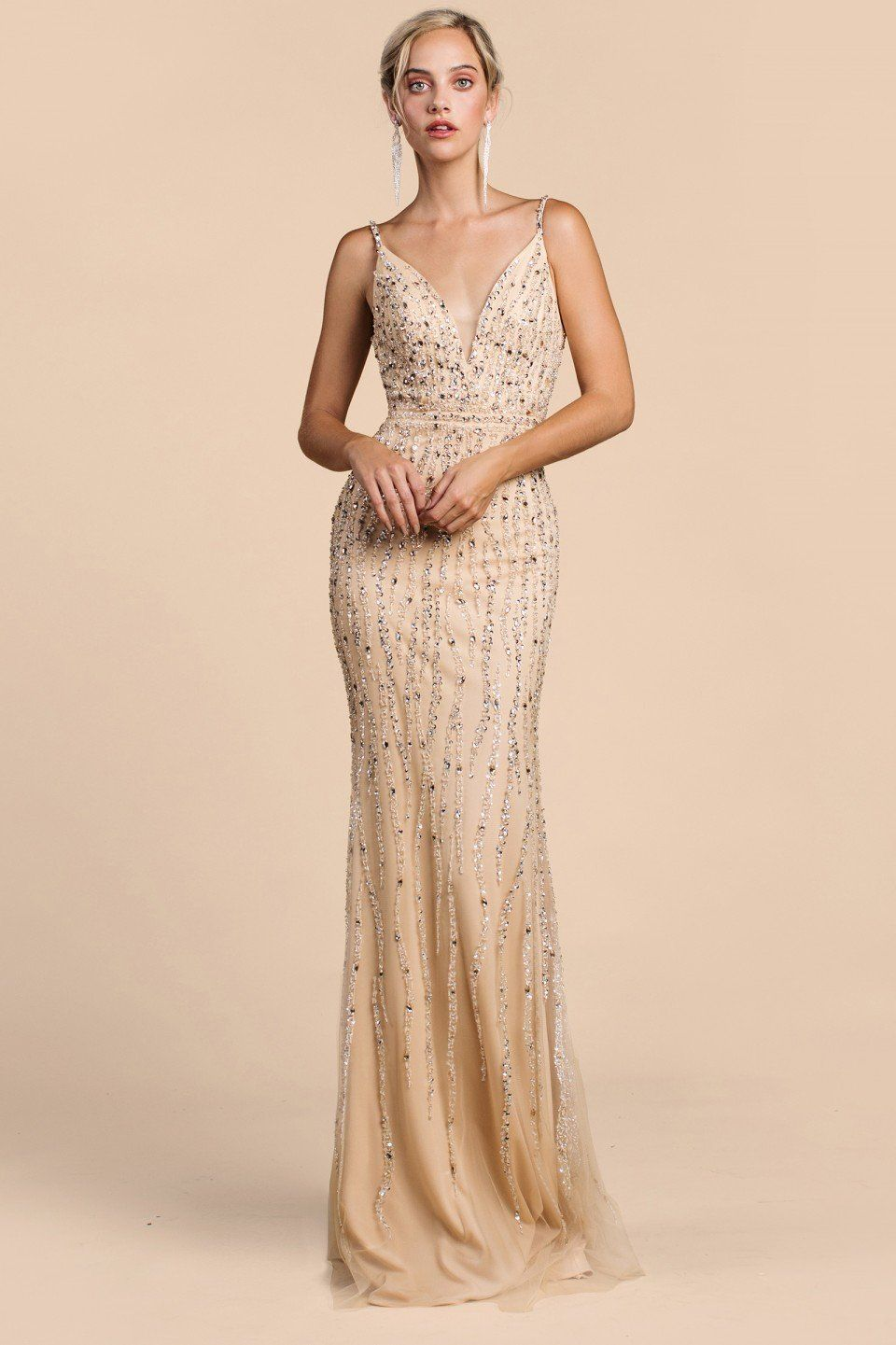 slim fitting long beaded evening gown with sweetheart
