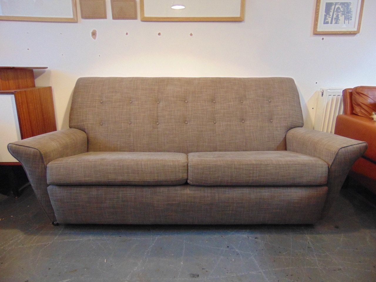 reupholster sofa south london sofas and chairs argos vintage mid century 1950 39s button upholstered grey