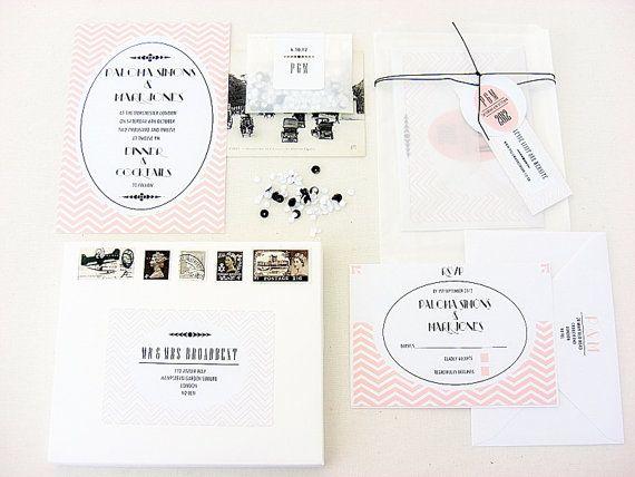 Wedding invitations, pink black and white, sample, Paloma design, 25