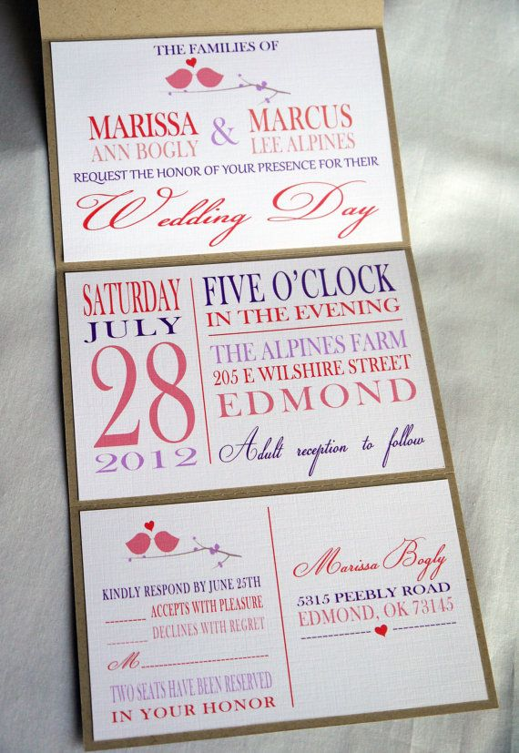 coral pink purple brown kraft love birds seal and send wedding invitation - Seal And Send Wedding Invitations