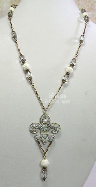 Shabby Gems Fleur de Lis Necklace - ButterBeeScrapsButterBeeScraps