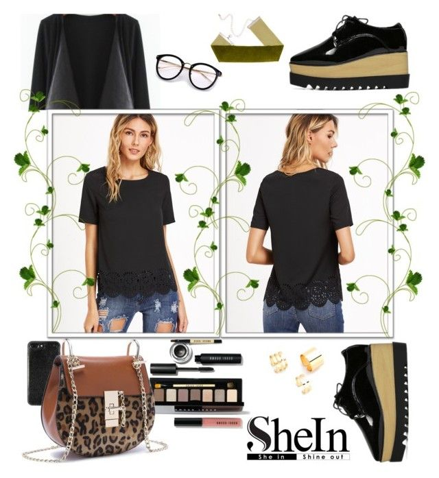 """""""SHEIN-Black Laser Cutout Scallop Hem Top"""" by miss-maca ❤ liked on Polyvore featuring Bobbi Brown Cosmetics"""