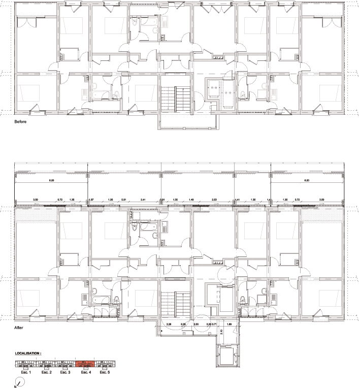 Floor Plan Buildings H I Before And After Transformation Construction Plan Building Plan High Rise Building