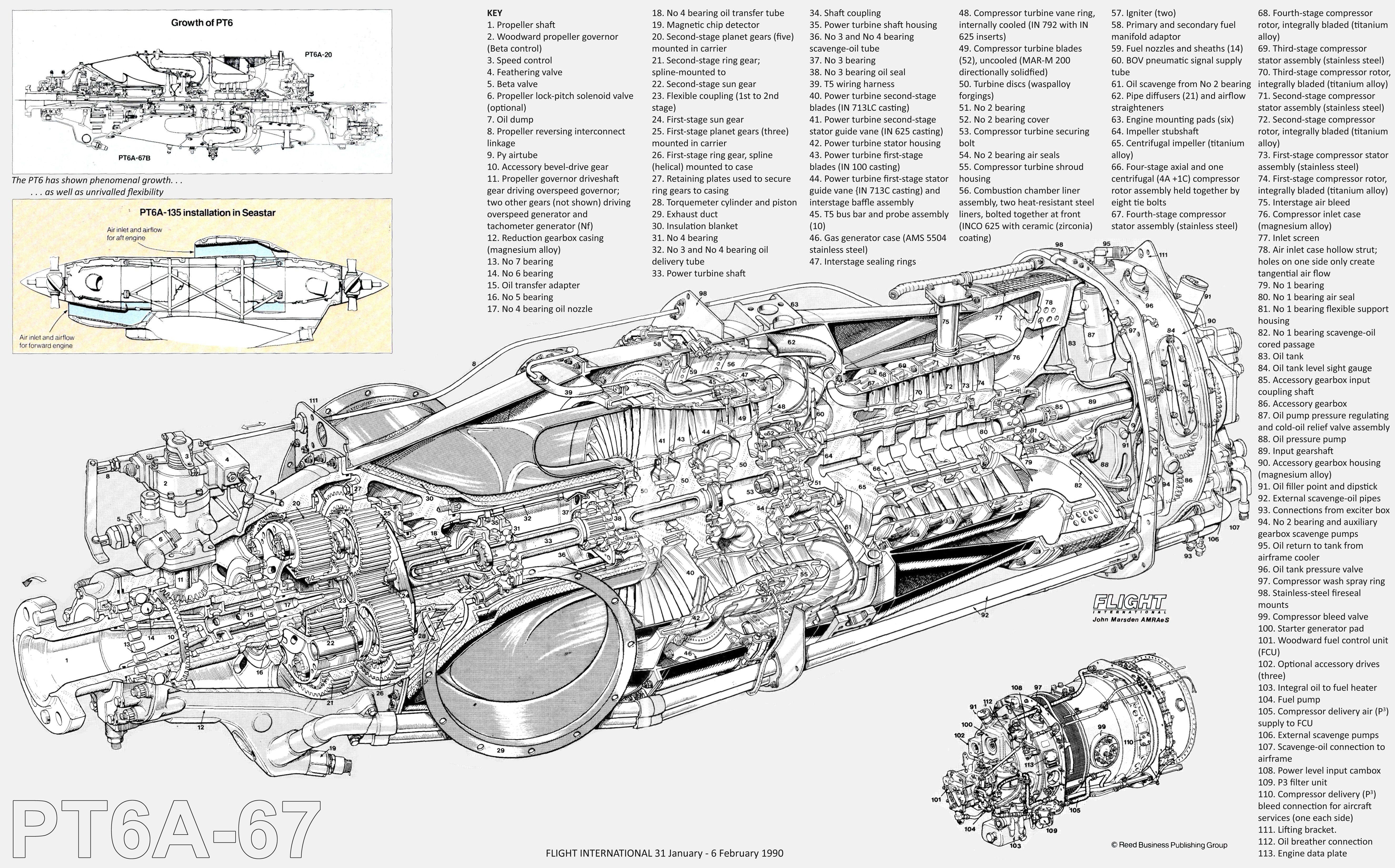 PC12 Pratt & Whitney Canada PT6A67 turboprop cutaway