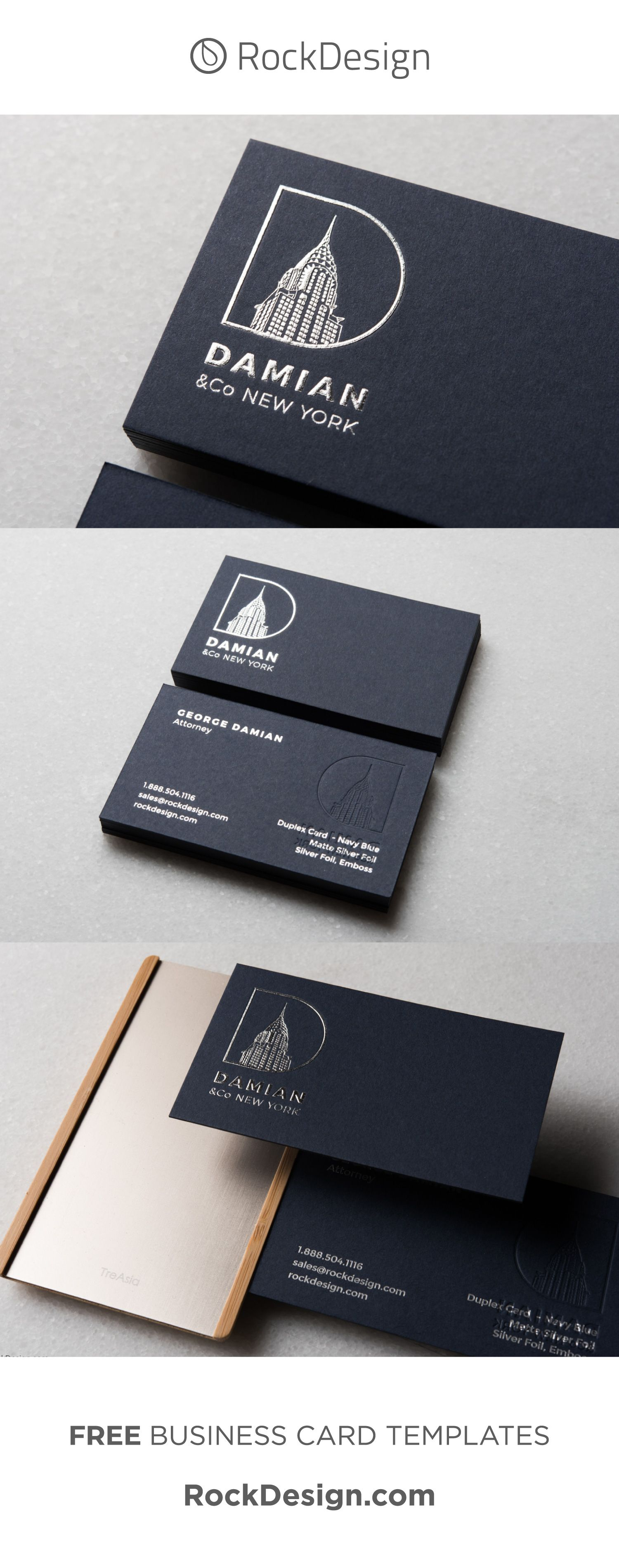 Professional Simplistic Navy Blue Business Card Template With Silver Foil And Emboss Damian Business Card Design Blue Business Card Business Cards Creative