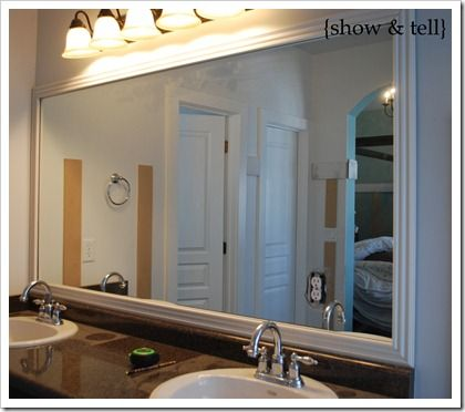 Like This Idea To Add Character To Just Plain Big Mirrors That I Have In All My Bathrooms Mirror Frame Diy Mirror Frames Mirror