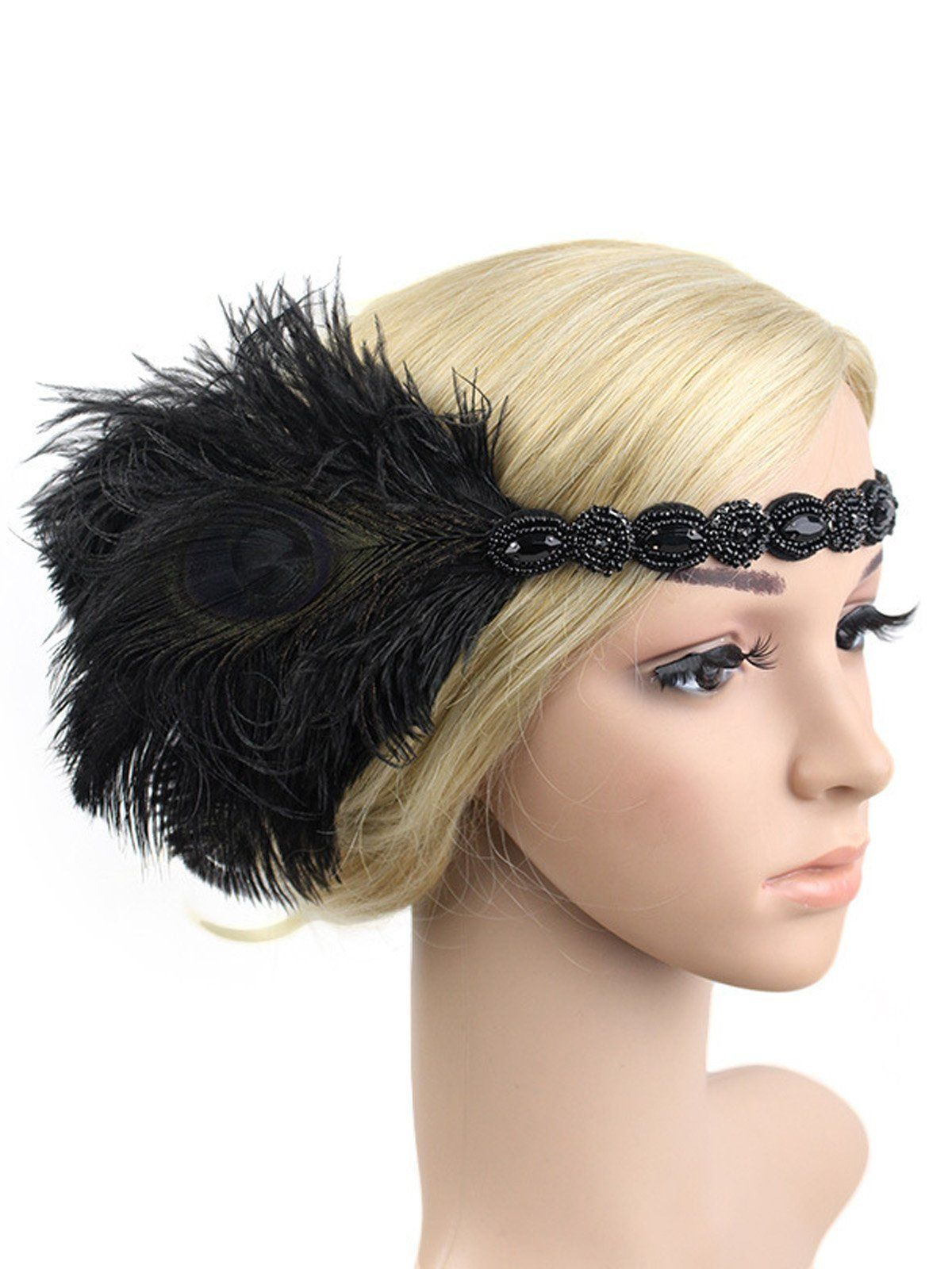 Flapper Feather Headpiece Headband Charleston 1920/'s Black White Red Fancy Dress