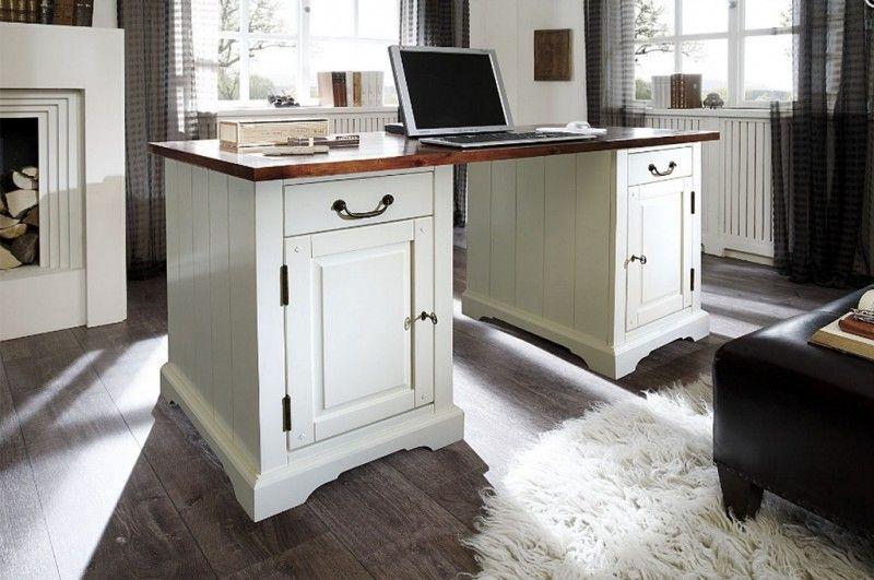 Schreibtisch Siena weiß massiv Holz Computertisch Bürotisch Büro ...