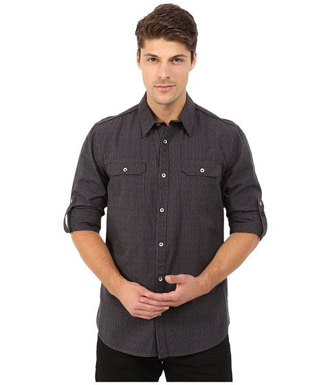 DKNY Jeans Long Sleeve Roll Tab Yarn Dye Dobby Gingham Shirt