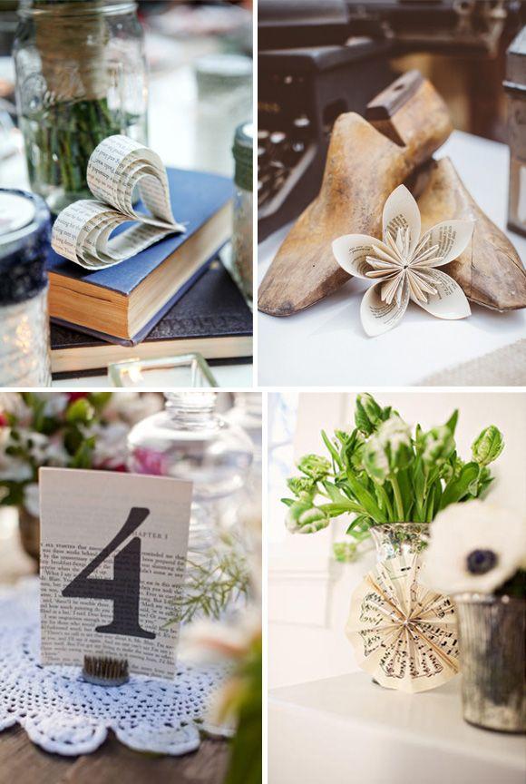 Decoraci n de boda con hojas de libro vintage origami for Decoracion con papel