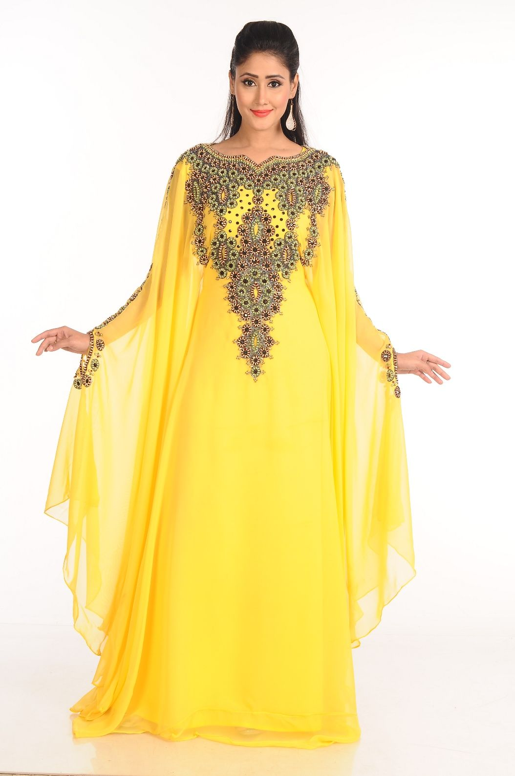 2c0c35b9ab907 Yellow Zari Work Stones   Beads Embellish Georgette Islamic is an Arabian  pattern which is made from Georgette fabric.