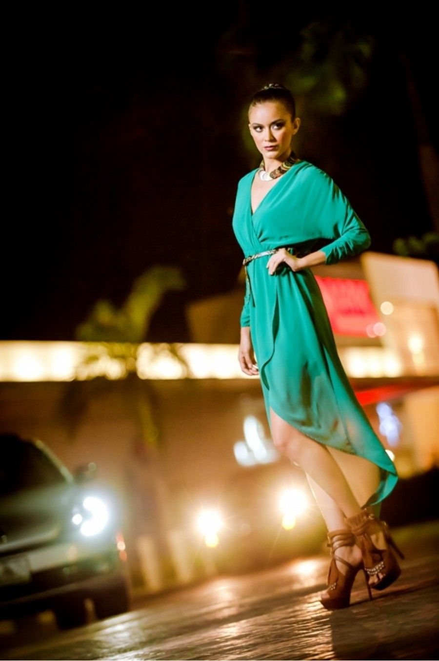 vestido cola de pato verde