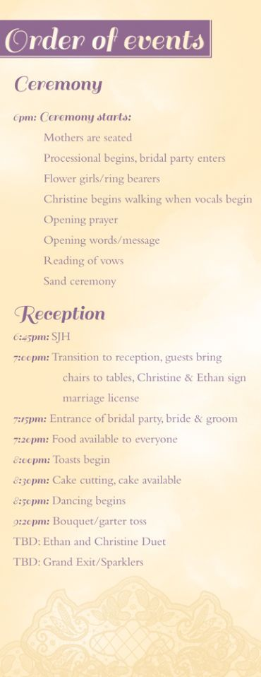 Ethan And Christine S Marriage Covenant Vows Order Of Wedding Ceremony Wedding Reception Program Wedding Reception Timeline