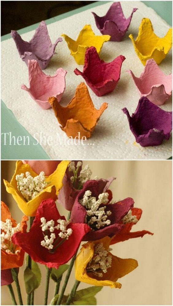 Basteln mit Eierkarton - Osterkranz aus Frühlingsblumen in einpaar einfachen Schritten