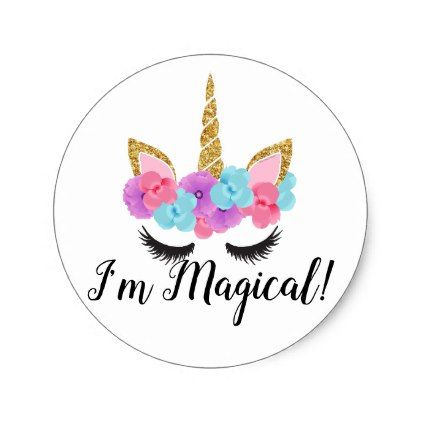 Flowers gold magical unicorn girls classic round sticker magical unicorn and round stickers