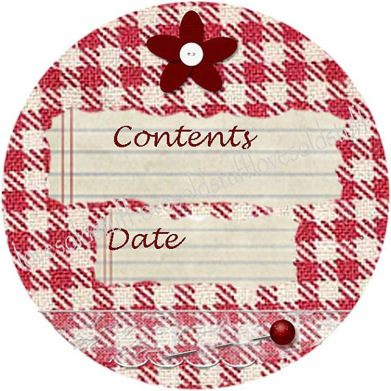 Mason jar labels round stickers red gingham canning label jar label 2 sizes