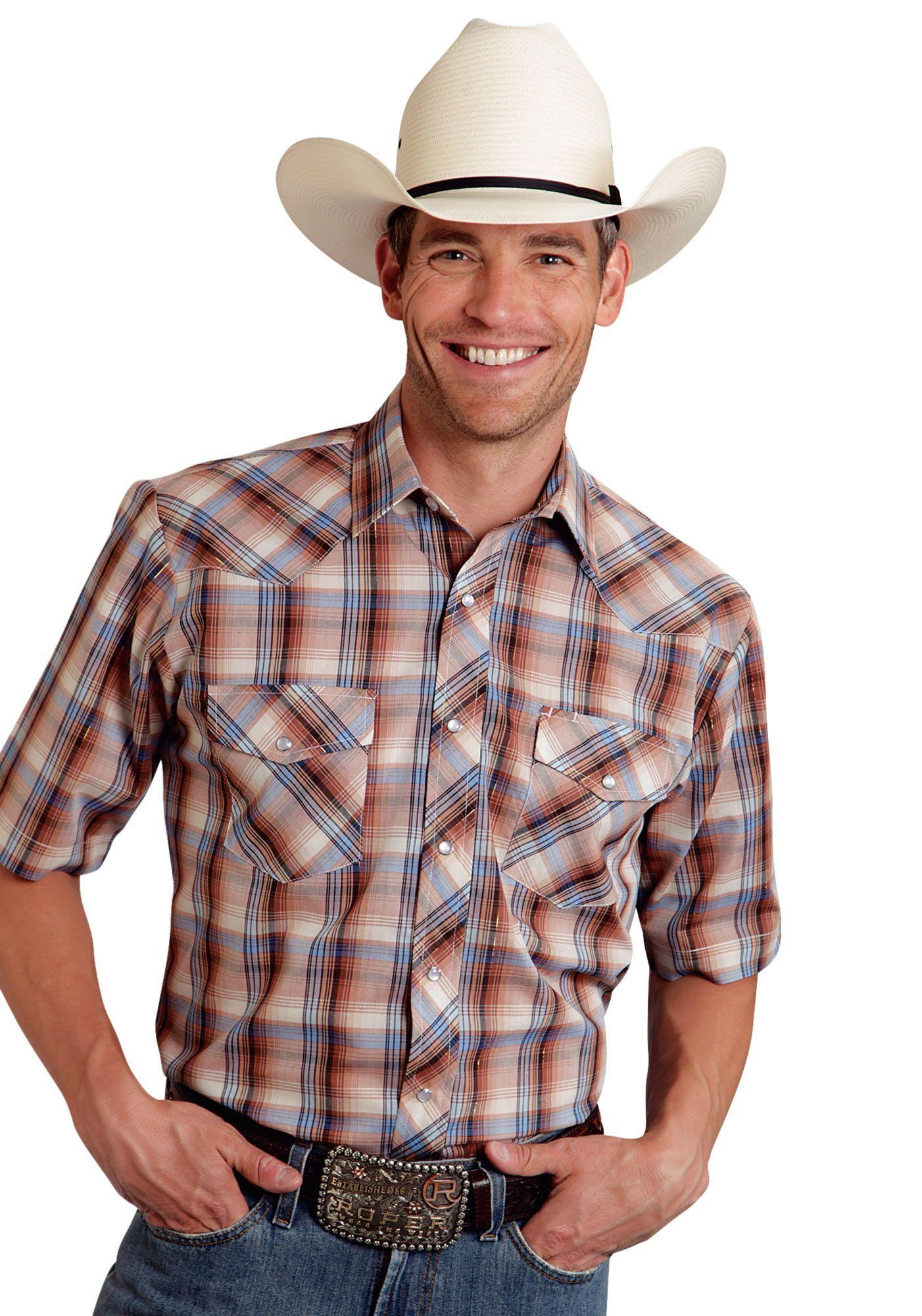 Roper Mens 9742 Multi Brown Plaid W/ Lurex Poly Cotton 55/45 Plaids Short Sleeve Shirt Snap Closure - 2 Pocket