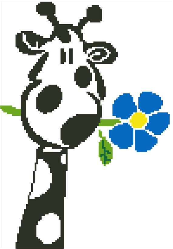 Giraffe with flower Cross Stitch Hand Embroidery by ElfinTales, $2.99